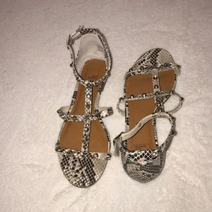 Faux snake studded gladiator sandals